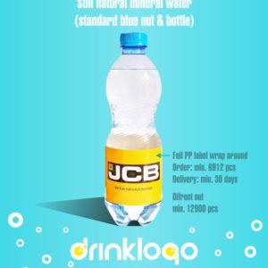 Design & Order custom bottled mineral water with drink logo sparkling 500 ml blue nut in bottle pet transparent blue